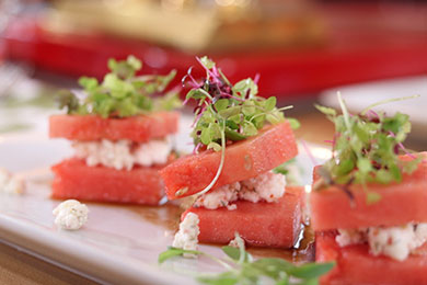 Fresh Vodka Infused Watermelon | Tomato Basil Feta Cheese